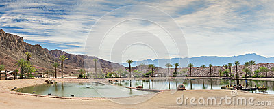 Artificial lake in geological desert Timna park