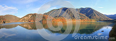 Artificial lake sylvenstein in autumn