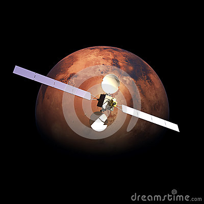 Artificial Probe orbiting above Planet Mars