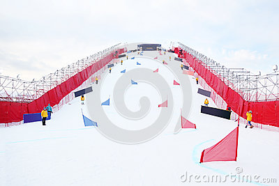 Artificial ramp for parallel slalom snowboardind