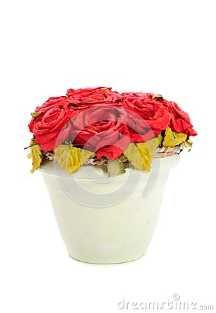 Artificial Red Rose Flowers in Pot