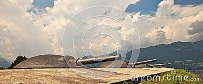 Artillery turrets.