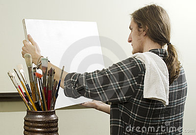Artist with blank canvas