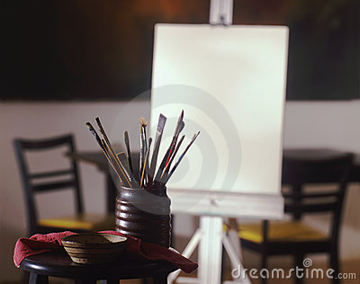 Artist canvas with brushes