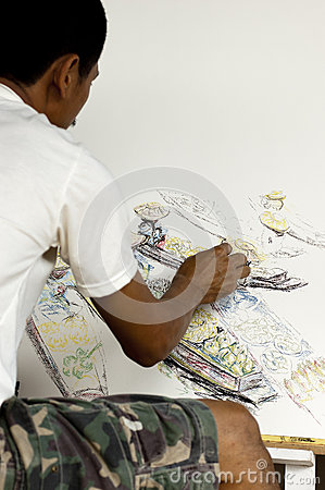 Artist drawing a picture of a floating market Editorial Stock Photo