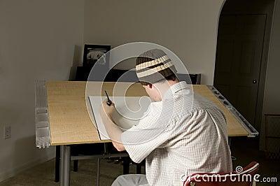 Artist at Drawing Table