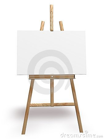 ARTIST EASEL AND BLANK CANVAS (click image to zoom)