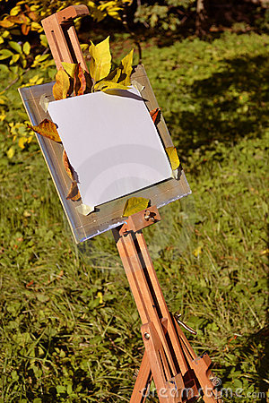 Artist easel in a city park