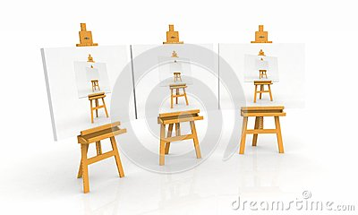 Artist easels with paintings