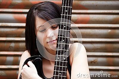 Artist with her instrument