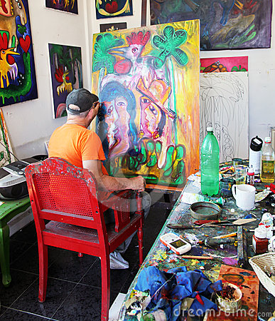 Artist Jose Fuster in his Studio. Editorial Stock Image