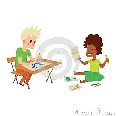Artist kid children vector character Vector Illustration