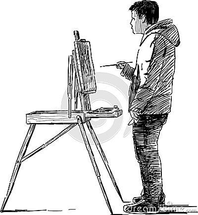 Artist making sketches