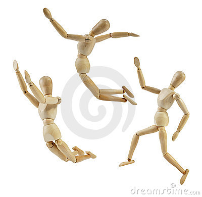 Free Artist Mannequin In Jump Poses Royalty Free Stock Photography - 20755287