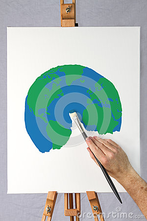 Free Artist Painting A Picture Of The Earth On A Canvas Royalty Free Stock Images - 27539989