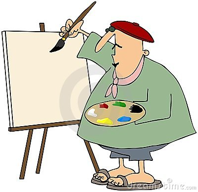 Artist Painting On A Blank Canvas