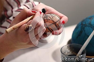 Artist painting easter egg.