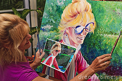 Artist painting a self portrait
