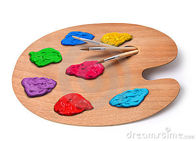 Artist palette with colors and brushes