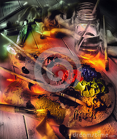Artist Palette and Oil Paints - Light Painting