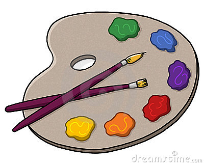 Artist palette, paints and brushes illustration