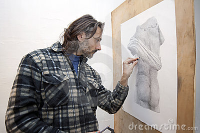 Artist with pencil