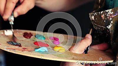 Artist prepares the paint stock footage