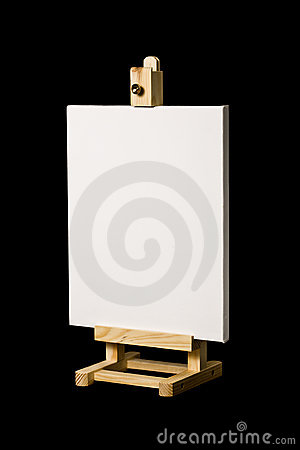Artist s canvas on easel isolated on black