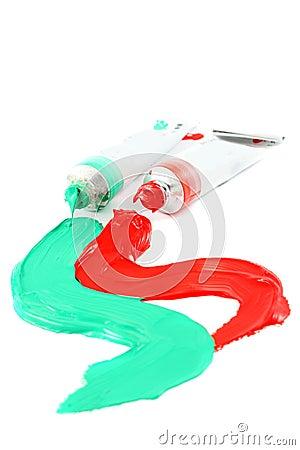 Artist s colorful paints