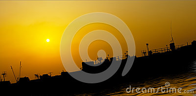 Artist ship at sea impression with sunset