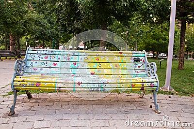 Artistic bench in Santiago Editorial Stock Photo
