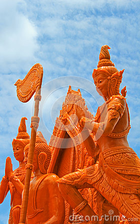Artistic of candle festival in Thailand.