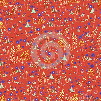 Artistic colorful field wild flowers seamless floral pattern. Decorative flowers and plants on a orange background. Original Vector Illustration