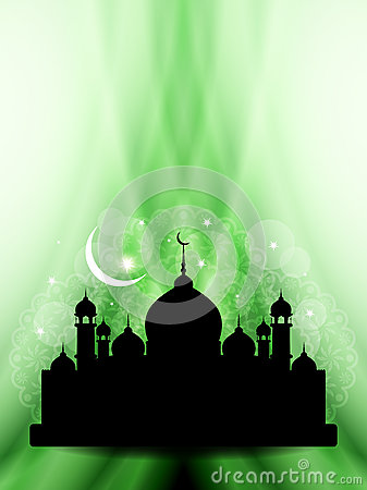 Artistic eid background design with mosque.