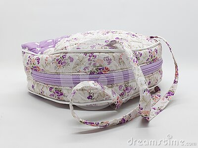 Artistic Elegant Modern Beautiful Cute Fabric Female Purse with Colorful Floral Retro Pattern Design in White Isolated 06 Stock Photo