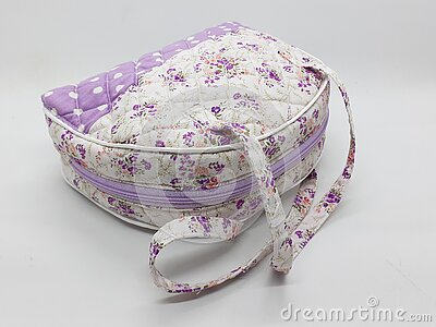 Artistic Elegant Modern Beautiful Cute Fabric Female Purse with Colorful Floral Retro Pattern Design in White Isolated 07 Stock Photo
