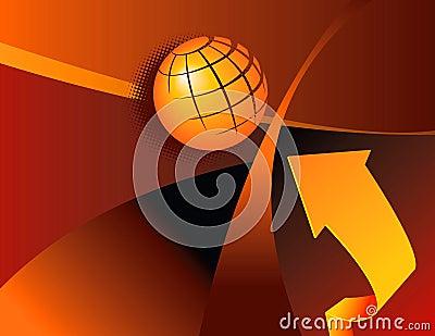 Artistic globe and arrow