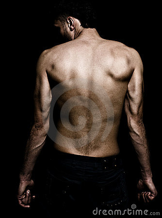 Artistic grunge image of man with muscular back