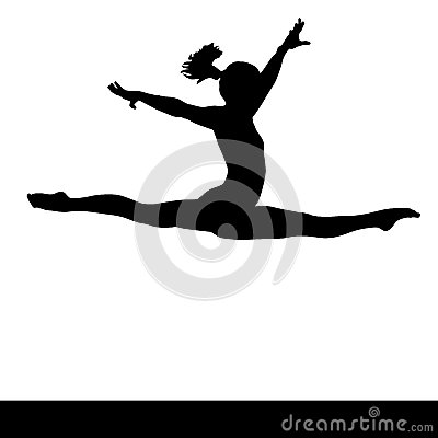 Artistic gymnastics. Gymnastics woman silhouette. Stock Photo