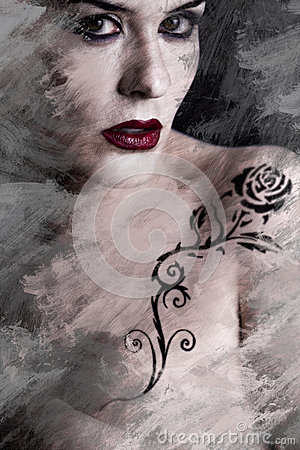 Artistic image of tattooed woman with a flower tattoo black trib