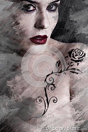 Artistic image of tattooed woman with a flower tattoo black trib