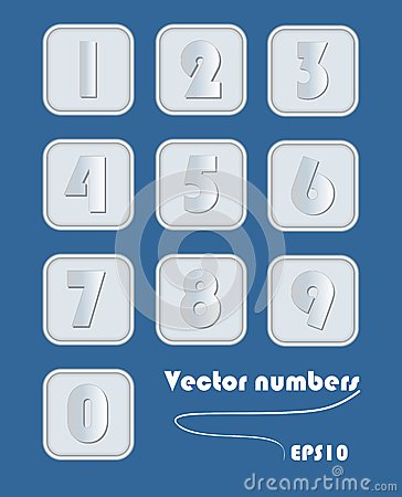 Free Artistic Number Set In Metallic Design. Digits In Square Elements With Rounded Corner. Silver Metal, Powerful Element For Infograp Royalty Free Stock Images - 56211389
