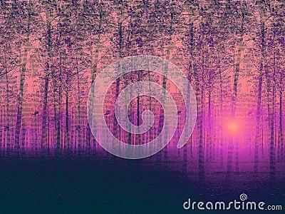 Artistic painted landscape poplar trees