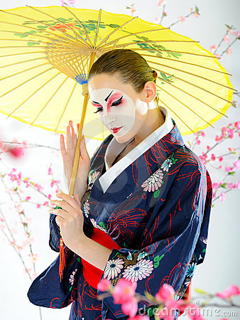 Artistic portrait of japan geisha woman