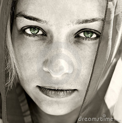 Artistic portrait of woman with beautiful eyes