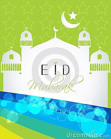 Artistic religious colorful background of Muslim community festival Eid Mubarak concept.