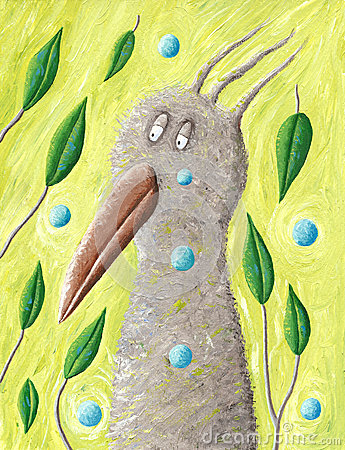 Artistic sad brown forest bird