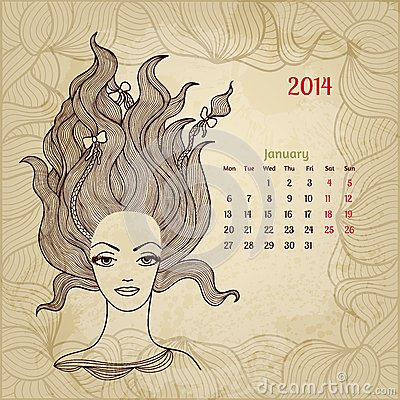 Artistic vintage calendar for January 2014. Woman