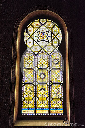 Free Artistic Window In Spanish Synagogue, Prague, Czech Republic Royalty Free Stock Photography - 94596727