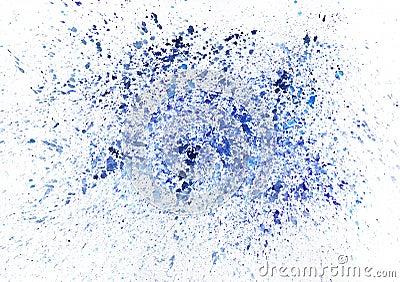 Artistieke blauwe waterverfplonsen. Rooster